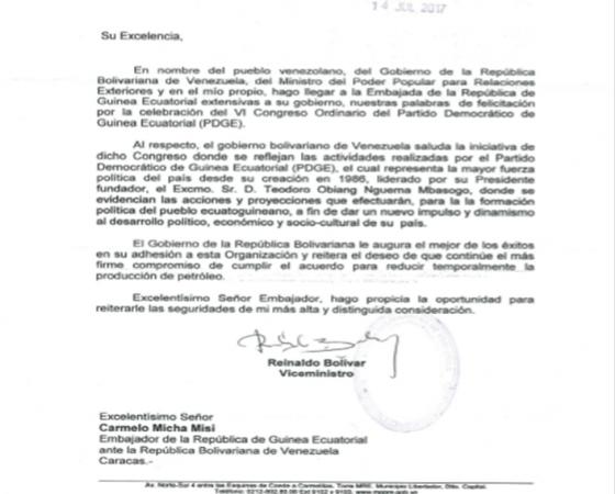 La Cancillería Venezolana felicita al Gobierno de G.E. por la exitosa celebración del VI Congreso Ordinario del PDGE